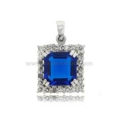 SQUARE PENDANT MM 28X23 IN RHODIUM-PLATED SILVER TIT 925 ‰ ZIRCONS