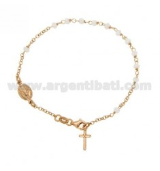 ROSARY BRACELET WITH WHITE STONES faceted MM 3.5 X 2.8 CM 20 SILVER PLATED ROSE GOLD 925 ‰