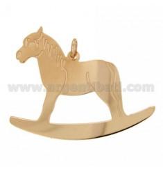 ROCKING HORSE PLATA CHARM MM 46X44 rosa de oro bañado TIT 925 ‰
