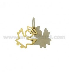 CHARM ANGEL PLATE DOUBLE IN AG PLATED RHODIUM AND GOLD TIT 925 ‰