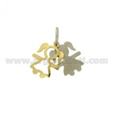 Pendant GIRL IN DOUBLE SHEET AG PLATED RHODIUM AND GOLD TIT 925 ‰