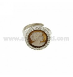 PINK RING WITH CAMEO &quotDEA&quot MM 12 WITH EDGE OF ZIRCONIA IN SILVER RHODIUM-PLATED TIT 925 ‰ ADJUSTABLE SIZE