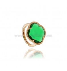 RING WITH STONE HYDROTHERMAL A FLOWER GREEN BOTTLE IN AG TIT 925 ROSE GOLD PLATED