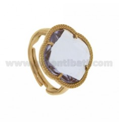 RING WITH STONE HYDROTHERMAL A LILAC FLOWER IN PINK GOLD PLATED AG TIT 925