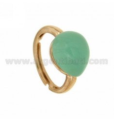 RING WITH DROP MM 14x12 GREEN TIFFANY ROSE GOLD PLATED 20 IN AG TIT 925 ‰ SIZE ADJUSTABLE