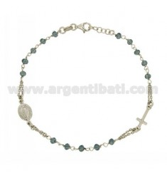 BRACELET ROSARY WITH BLUE STONES faceted MM 3.5 X 2.8 CM 20 SILVER RHODIUM 925 ‰