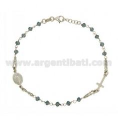 BRACELET Rosenkranz mit blauen Steinen facettierten MM 3,5 X 2,8 CM 20 Silber Rhodium 925 ‰