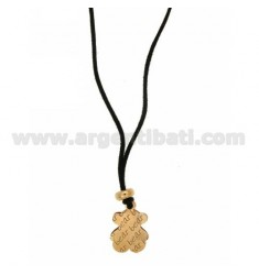 TEDDY BEAR.NECKLACE DOUBLE PLATE IN SILVER ROSE GOLD PLATED TIT 925 ‰ SILK CERATA