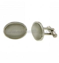 GEMINI Stahl Oval 19x15 mm mit PEARL