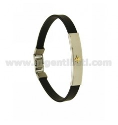 RUBBER BRACELET WITH STEEL PLATE WITH ROSE OF THE WIND IN BILAMINE BRASS AND GOLD