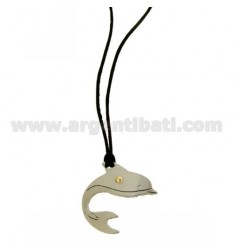 PENDANT DOLPHIN 28X27 MM STEEL WITH POINT Bilamina BRASS AND GOLD WITH LACE SILK CERATA