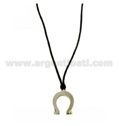 PENDANT HORSESHOE 20X15 MM STEEL WITH POINT Bilamina BRASS AND GOLD WITH LACE SILK CERATA