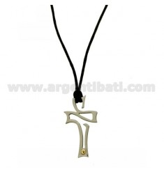 CROSS PENDANT 32x18 MM STEEL WITH POINT Bilamina BRASS AND GOLD WITH LACE SILK CERATA