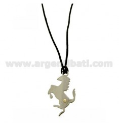 PENDANT HORSE 34X20 MM STEEL WITH POINT Bilamina BRASS AND GOLD WITH LACE SILK CERATA