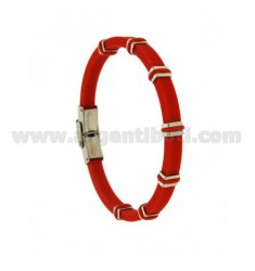 BRACELET IN STEEL AND RED RUBBER 5 MM
