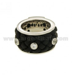 RING BAND 12 MM WITH RUBBER &39E 3 ZIRCONIA SILVER RHODIUM TIT 925 ‰ MEASURE 14