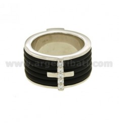 RING BAND 12 MM WITH RUBBER AND CROSS WITH ZIRCONIA SILVER RHODIUM-PLATED TIT 925 ‰ SIZE 19