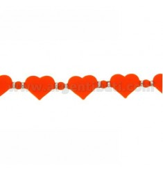BRACELET HEARTS IN RUBBER &39ORANGE AND SILVER TIT 925 ‰ MEASURE 17.20