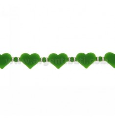 HEARTS BRACELET IN GREEN RUBBER AND SILVER TIT 925 ‰ SIZE 17-20