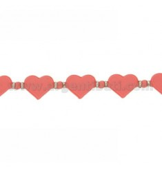BRACELET HEARTS IN RUBBER &39PINK AND SILVER TIT 925 ‰ MEASURE 17.20