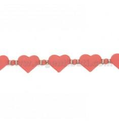 BRACELET HEARTS IN RUBBER &39Pink und Silber TIT 925 ‰ 17.20 MEASURE