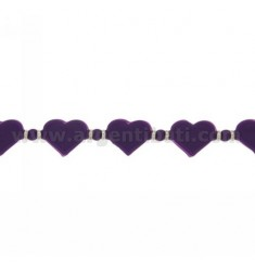 BRACELET HEARTS IN RUBBER &39PURPLE AND SILVER TIT 925 ‰ MEASURE 17.20