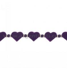 BRACELET HEARTS IN RUBBER &quotLila und silberne TIT 925 ‰ 17.20 MEASURE