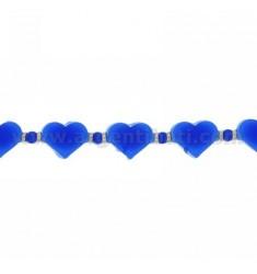 BRACELET HEARTS IN RUBBER &39Blau und Silber TIT 925 ‰ 17.20 MEASURE