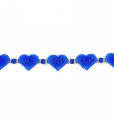 BRACELET HEARTS IN RUBBER &39BLUE AND SILVER TIT 925 ‰ MEASURE 17.20