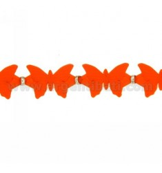 BUTTERFLIES BRACELET RUBBER &39ORANGE AND SILVER TIT 925 ‰ MEASURE 17.20