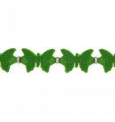 Armband Kautschuk Schmetterlinge in &quotGrün und Silber TIT 925 ‰ 17.20 MEASURE