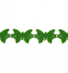 BRACELET RUBBER BUTTERFLIES IN &39GREEN AND SILVER TIT 925 ‰ MEASURE 17.20