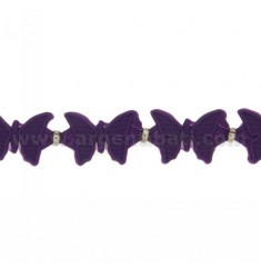 BUTTERFLIES BRACELET RUBBER &39PURPLE AND SILVER TIT 925 ‰ MEASURE 17.20