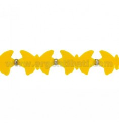 BUTTERFLIES BRACELET RUBBER &39YELLOW AND SILVER TIT 925 ‰ MEASURE 17.20