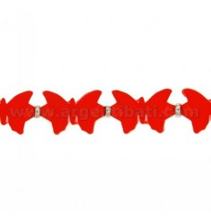 BUTTERFLIES BRACELET RUBBER &39RED AND SILVER TIT 925 ‰ MEASURE 17.20