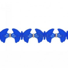 BUTTERFLIES BRACELET RUBBER &39BLUE AND SILVER TIT 925 ‰ MEASURE 17.20