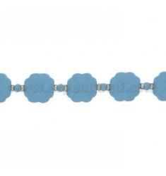 Armband Kautschuk Kleeblätter &39CELESTE UND SILBER TIT 925 ‰ 17.20 MEASURE