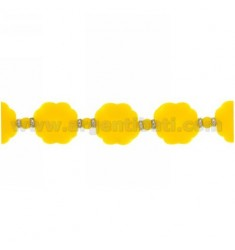 BRACELET RUBBER shamrocks&39 YELLOW AND SILVER TIT 925 ‰ MEASURE 17.20