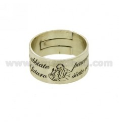 BAND RING MM 10 &quotDO NOT BE AFRAID OF THE FUTURE BECAUSE YOU ARE THE FUTURE&quot IN SATIN SILVER TIT 925 ‰ ADJUSTABLE SIZE