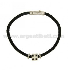BRACELET IN BLACK LEATHER INTECCIATO WITH CENTRAL &quotMARINE REPUBLIC&quot ELEMENT AND CLOSURE IN RHODIUM-PLATED SILVER TIT 9