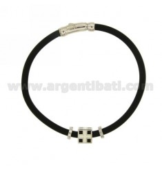 BRACELET RUBBER &39BLACK ELEMENT &quotMARITIME REPUBLIC&quot CENTRAL AND CLOSING IN SILVER RHODIUM TIT 925 ‰ AND POLISH
