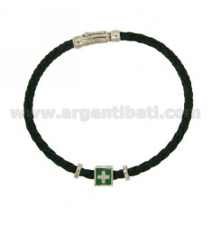 BRACELET IN GREEN LEATHER WOVEN WITH CENTRAL &quotMARINE REPUBLIC&quot ELEMENT AND CLOSURE IN RHODIUM-PLATED SILVER TIT 925 AN