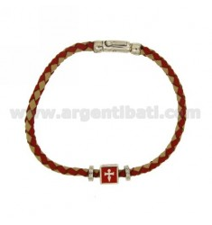 BRACELET IN RED LEATHER WOVEN WITH CENTRAL &quotMARINE REPUBLIC&quot ELEMENT AND CLOSURE IN RHODIUM-PLATED SILVER TIT 925 ‰ AN