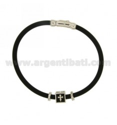 BRACELET IN BLACK RUBBER WITH CENTRAL ELEMENT AND CLOSURE IN SILVER RHODIUM TIT 925 ‰ AND ENAMEL