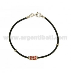 BRACELET RUBBER &39WITH CENTRAL ELEMENT AND CLOSING IN SILVER RHODIUM TIT 925 ‰ AND POLISH