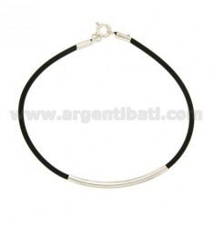 TUBULAR RUBBER BRACELET WITH PLATE AND CLOSURE IN SILVER TIT 925 ‰
