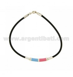 TUBULAR RUBBER BRACELET WITH ENAMEL PLATE AND SILVER CLOSURE TIT 925 ‰
