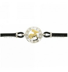 RUBBER BRACELET WITH ARIES CANCER IN AG TIT 925 ‰ TWO-TONE CM 18