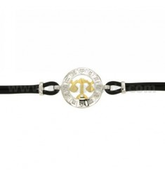 RUBBER BRACELET WITH SCORPIO SCALES IN AG TIT 925 ‰ TWO-TONE CM 18