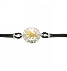 RUBBER BRACELET WITH SCORPIO LION IN AG TIT 925 ‰ TWO-TONE CM 18